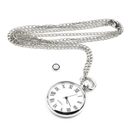 Wholesale Vintage Silver Pocket Watch Chain - OUTAD 1pcs Quartz Round Pocket Watch Dial Vintage Necklace Silver Chain Pendant Antique Style Personality Watches Gift relogio