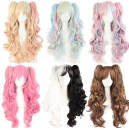 Argentina peluca cosplay ondulada larga 65cm púrpura rosa ombre dos colas de pelo pelucas sintéticas del pelo sintético para las mujeres cheap two ponytails wig Suministro