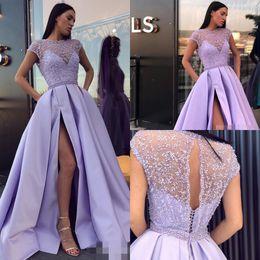 Lavender Jewel Vestidos de noche mangas cortas con capucha Una línea de prom Vestidos con apliques con cuentas laterales divididos espalda abierta por encargo Vestidos formales desde fabricantes