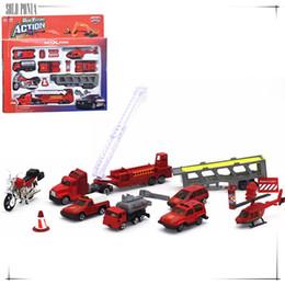 Wholesale toy fire truck models - Music & flash 1:64 Diecast Alloy car model toy metal material vehicles set 14 piece fire engine set fire pumper vehicle C1028
