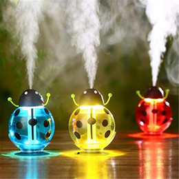 Wholesale ultrasonic nebulizer - USB Portable Ultrasonic Beetle Humidifier Air Purifier Nebulizer DC 5V ABS Bottle Lamp LED Home night light Office Car Humidifier