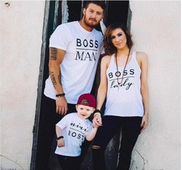Wholesale Parents Children S Clothing - Family matching clothes letter printed BOSS MAN BOSS LADY MINI BOSS cotton T shirt short sleeve parent-child casual suits