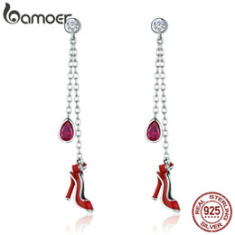 Alta calidad 100% 925 Sterling Silver Sexy Red High Heels Long Drop Earrings para mujeres regalo de la joyería de plata desde fabricantes