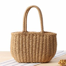 Wholesale Korean String Bag - New Korean fashion handmade straw bag travel holiday beach weaving handbags vintage casual handbag