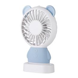 Wholesale Night Light Bear - 2018 Newest night light fan Linglong Rabbit and Damo bear handheld fan led lighting thin mini usb fan