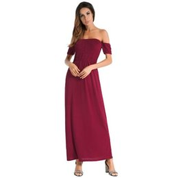 Wholesale Green Strapless Bodycon Dress - 2018 Summer New Style Collar Strapless Dress Solid Color Short Sleeves Collar Dress Evening Dresses Women's Casual skirt