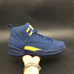 Wholesale fahion shoes - 2018 Hot XII 12s Michigan Blue Yellow Basketball Shoes for Men High quality 12 Fahion Sports Sneakers Size 40-47