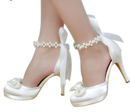 Wholesale Ivory Satin Bridal Shoes - Woman High Heel Wedding Shoes White Ivory Round Toe Platform Pearls Ankle Strap Bow Satin Lady Prom Evening Bridal Pumps