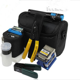 Wholesale Fc Fiber Optic - 8 In 1 Fiber Optic FTTH Tool Kit with FC-6S Fiber Cleaver and 1MW Visual Fault Locator Stripper CFS-2 Alcohol bottle