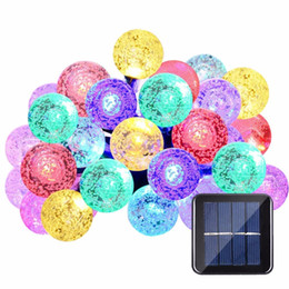 Wholesale crystal ball candle - Hot Led Strip 30 LED Crystal Ball Light String Solar Power Lamp Globe Fairy Light for Garden Party Home Christmas Decoration