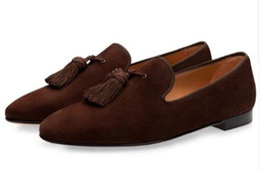 velours schuhe Rabatt Luxus Wildleder Hausschuhe Männer Quaste Loafers Schuhe Velour Rauchen Slip-on Herren Wohnungen Hochzeit Schuhe Männer Kleid Schuhe