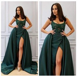 Wholesale Dress Paty - Sexy Dark Green Mermaid Dresses Evening Wear With Detachable Train 2018 Scoop Neck Lace Appliques Plus Size Formal Prom Paty Gowns