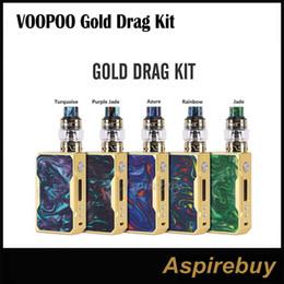 Wholesale Tc Box Mod Kits - Voopoo Gold Drag Kit 157W TC Mod Gold Frame Drag Box Mod with 5ML Voopoo UFORCE Tank Standard Edition Quick Vent Channel Fast 100% Original