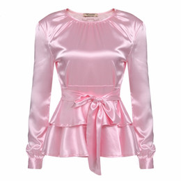 Wholesale Ladies White Ruffled Blouses - LETEOO Ruffles Long Sleeve Silk Blouse Ladies Tops Casual Bow Tie Satin Blouse Women Blouses White Shirt Camisas Mujer Pink L30