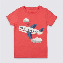 Wholesale planes shirts - Hot selling 2018 Little Maven NEW ARRIVAL boys Kids pure Cotton Short Sleeve Cartoon plane causal summer comfortable t shirt Free Shipping