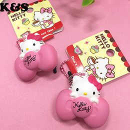 Wholesale Cute Cell Phone Plugs - Cute Hello Kitty Rare Squishy 5pcs lot Mini Kawaii Pink Bow kitty Doll Sweet mobile cell phone Charm with Dust plug #328
