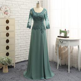 Noiva da mãe verde-oliva on-line-2018 setwell drapeado mãe chiffon da noiva vestidos mangas compridas verde-oliva rendas uma linha mãe do noivo vestido de vestidos de noite personalizados