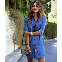 c222843932f Women Casual Denim Dresses Pockets Elegant Cowboy Fashion Women Feminino  Lady Slim Shirt Dress Jeans S-XXL Size