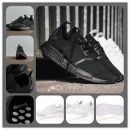 Wholesale Nipple Massage - New NMD Japan Pack Triple White BZ0221 Triple Black BZ0220 Real Boost NMD R1 Primeknit Running Shoes Small nipples Boost With Box