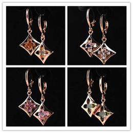 Wholesale Dangle Ear Cuffs - 4 Style Women 14k Gold Plated Flower Blue Sapphire Dangle Earrings Jewelry New