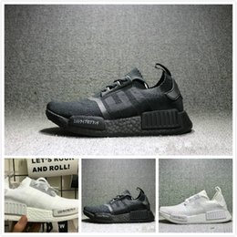 Wholesale Japanese Laced Shoes - New arrival NMD Runner R1 boost Japanese Triple black Triple white Man Running Shoes ultra boost Men Women Sport Sneakers NMD_R1 Primeknit