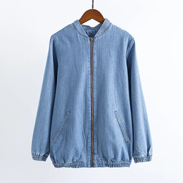 Estilo japonés de las mujeres Outwear Casual Abrigos casuales Ladies Punk Outwear Top Capa Bordado Parche Denim Bomber Jacket Coat Bolsillos de manga larga desde fabricantes