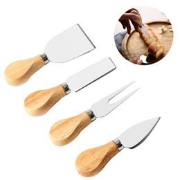 Juegos de cocina de acero inoxidable online-4 Unids Juego de Cuchillos de Queso con ROBLE Mango De Madera de Acero Inoxidable Slicer Cortador de Queso Cuchillos Cuchillos de Cocina cocina conjunto
