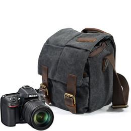 Leinwand slr kamerataschen online-Wasserdichte Leinwand und echtes Leder Professionelle SLR-Kameratasche heißer Verkauf Vintage Leinwand