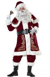 M-XXXXXXXL Взрослые мужские Делюкс Санта-Клаус Рождественские Костюмы Санта-Единообразный Рождественский Костюм для Мужчин Женщин плюс сие 6XL от Поставщики синий костюм мертвого кизяка