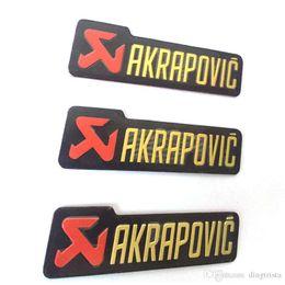 Etiquetas universales online-TKOSM 3 unids / lote Universal 100X30mm Etiquetas de Etiquetas de Aluminio 3D Akrapovic Silenciador de Escape Sticker Silencer Calcomanías para Motocicleta