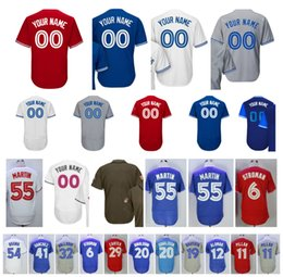 Wholesale Blue Anthony - Customized Blue Jays White Red Grey Blue Custom Baseball Jersey Josh Donaldson Bautista Marcus Stroman Osuna Smoak Troy Tulowitzki Pillar