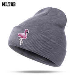 Wholesale Knitting Patterns Hats For Women - MLTBB 2018 Flamingo Pattern Winter Hat For Women Skullies Beanies Female Warm Caps Girls Cartoon Hat Cap Knitted Hats For Women