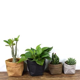 Wholesale Types Flower Pots - Washable Kraft Paper Storage Bags Plants Vegetable Grow Bag Flower Pot Cover Sundries Baby Clothes Toys Organizer Hanging Pouch