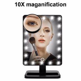 """Canada 12 """"grand miroir de maquillage éclairé avec 20/22 lumières LED de table composent la vanité de miroir comestic avec grossissement de 10x Offre"""