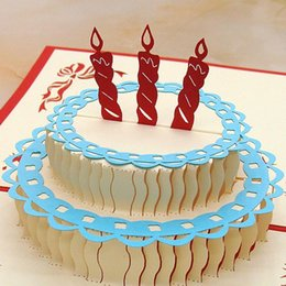 Wholesale Good Birthday Cards - Wholesale- 3D postcard for Birthday with Cake Shaped Happy Birthday Card Good Gift for Children
