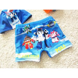 Wholesale Robot Animals Cartoon - Two Piece Cartoon Robot Children Swimsuit Child Swimwear Boy Swimming Trunk With Swim Cap Kid Swimming Briefs Swimwear Shorts