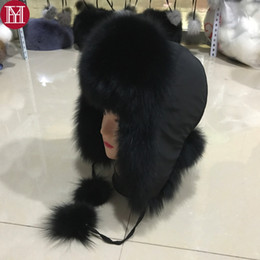 Wholesale Russian Women Sale - 2017 100% fashion new style winter Russian natural real fox fur hat hot sale women warm good quality genuine real fox fur cap