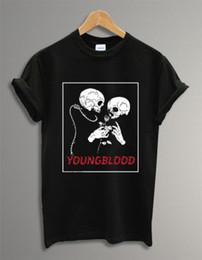 2019 camisa de punto calaveras 5 SOS 5 Skull Yongblood Logo Negro Unisex Hombre Mujer Camiseta Camiseta 100% Algodón tejido cómodo estilo calle hombre camiseta camisa de punto calaveras baratos