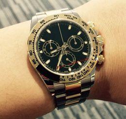 Relógio de ouro de dois tons on-line-Venda quente Qualidade de luxo Black Dial 40mm não Cosmograph 116503 Two-Tone Ouro aço inoxidável relógio automático dos homens mecânicos caixa de presente Livre