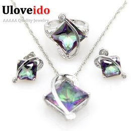 Wholesale Wholesale Large Stones Jewelry - whole saleUloveido 50% off Blue Cristal Women's Cubic Zirconia Earrings Ring Necklace Silver Wedding Jewelry Sets with Large Stone T295