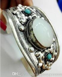 Wholesale Fish Cuff Bracelet - Charm White Moonstone Cuff Bracelet Bangle Tibet Silver Carved Unisex Gift
