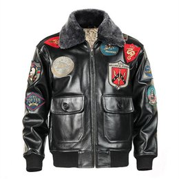 Wholesale Military Cans - 2018 Men Black Top Gun Leather Pilot Jacket Plus Size 3XL Wool Collar Genuine Cowhide Military Leather Pilot Coat Can Customized