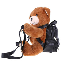 Wholesale Warm Teddy Bear - Teddy Bear Plush Backpacks Soft Bear Shoulder Bag Fashion Winter Warm Women Backpack PU Leather Rucksack Female Mochila Bags