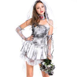 jeux de carnaval enfants Promotion Zombie fantôme mariée Costume Jour Des Morts Sexy princesse blanche cadavre mariée Cosplay Robe Halloween femme Uniforme