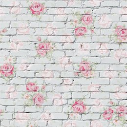 Wholesale Brick Wall Photography Backdrop - Pink Flowers Printed Brick Wall Backdrop for Newborn Photography Props Baby Girls Kids Children Photo Studio Backgrounds