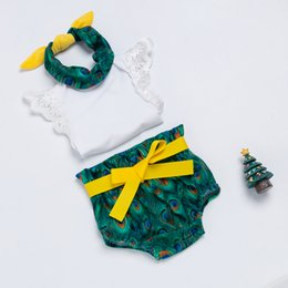 newborn baby girl gift sets NZ - Retail Baby Clothing Sets Peacock Bloomer 3 Pcs Sets Baby 0-2 Years Birthday Gift Outfits Kids Cute Baby Girl Newborn Suit Clothes A