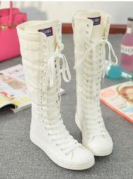 Rodilla zapatillas altas mujeres online-Gothic EMO PUNK Mujer Chica Zapatos Lona plana Botas altas Zip Knee High Sneaker