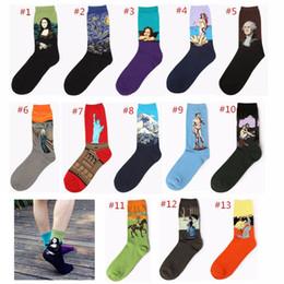 знаменитые картины женщины Скидка Художественный стиль мужчины женщины носки 13 цвет известные картины Мона Лиза носки оригинальность 3D печать носки для мужчин Бесплатная доставка B0212