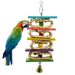 Wholesale Pet Parrot Supplies - Bird Chew Toy Parrot Supplies Hand Made Weaving Corn Skin Color Bead Twist String Manual Bite Large Medium and Small Pet Bird Bells Toy