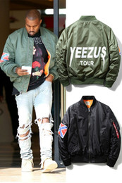 Wholesale Winter Hip Hop Jacket - MA1 Bomber jacket KANYE WEST YEEZUS jackets Sport Suit Parkas mens hip hop coats streetwear Fall-Clothing winter mens jackets coats
